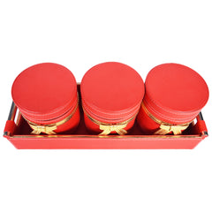 Jar & Tray set of 3 - Red Gold PU Leatherite - Nestasia Home Decor
