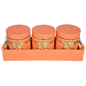 Nestasia Jar & Tray set of 3 - Rectangle tray with handle - Orange Gold Combination - For Gifts Home Office - Three PU Leatherite covered glass canister with bow