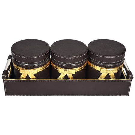 Nestasia Jar & Tray set of 3 - Rectangle tray with handle - Dark Brown Gold Combination - For Gifts Home Office - Three PU Leatherite covered glass canister with bow