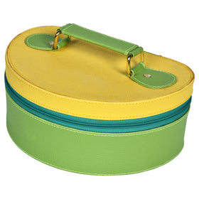 GLAM Travel Jewellery Vanity Box Trunk - Green Yellow Case