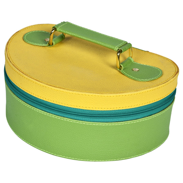 Nestasia Travel Jewellery Vanity Box - Trunk case - With mirror - Floral pattern - Green Yellow - PU Leatherite