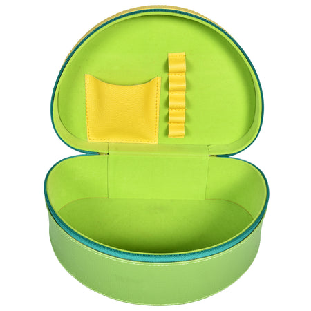 Travel Jewellery Vanity Box - Trunk Case - With Mirror - Floral Pattern - Green Yellow - PU Leatherite