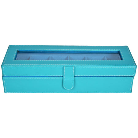 Nestasia Watch Box for 6 watches - PU leatherite - blue - rectangle