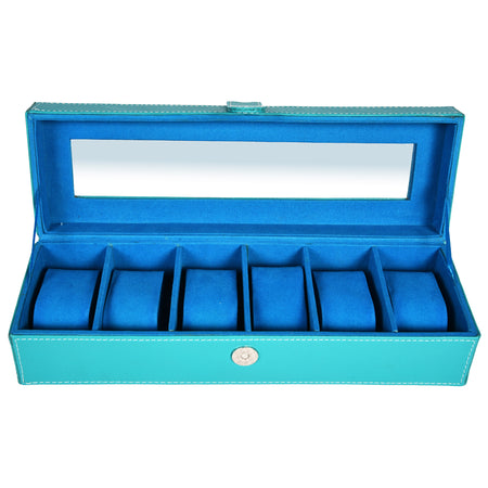 Watch Box for 6 Watches - PU Leatherite - Blue - Rectangle