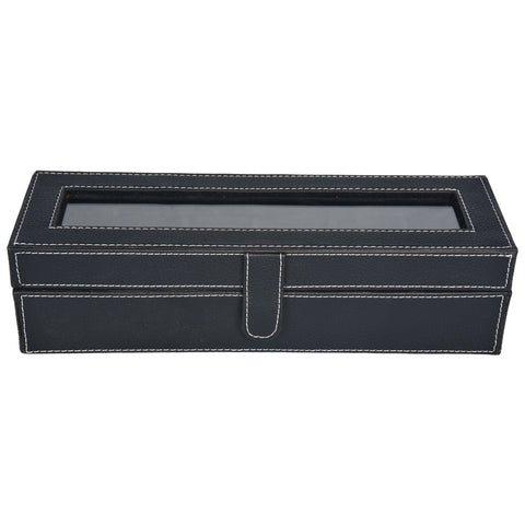 Nestasia Watch Box for 6 watches - PU leatherite - black - rectangle