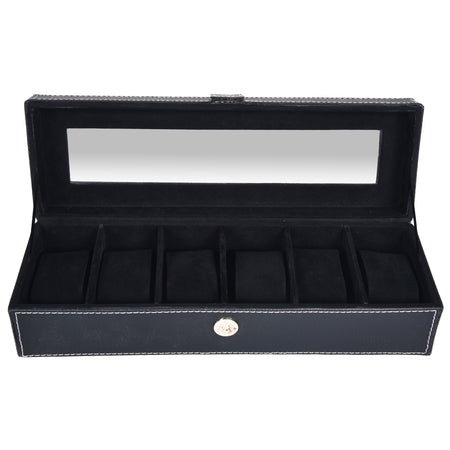 Watch Box for 6 Watches - PU Leatherite - Black - Rectangle