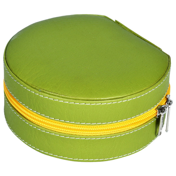 GLAM Round Zip Case - Organiser box for Travel Jewellery Vanity -green yellow with mirror - Nestasia Home Decor