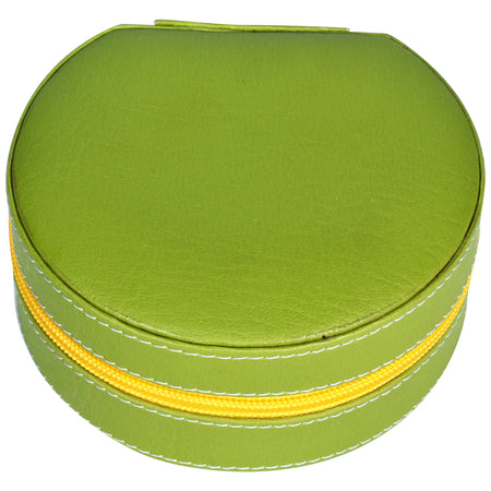 Round Zip Case - Organiser box for Travel Jewellery Vanity - green yellow combination with mirror - PU Leatherite