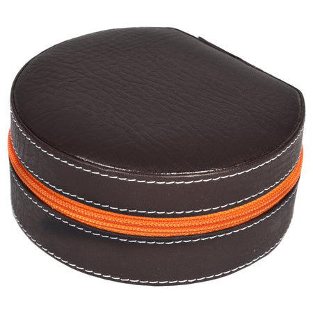 Nestasia Round Zip Case - Organiser box for Travel Jewellery Vanity - dark brown orange combination with mirror - PU Leatherite