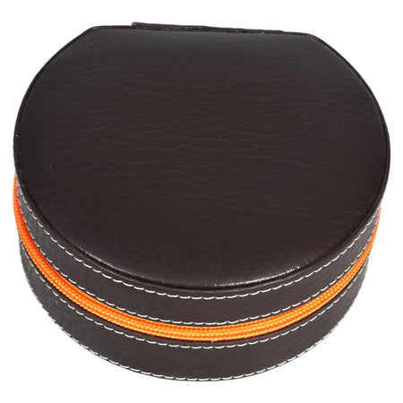 Round Zip Case - Organiser box for Travel Jewellery Vanity - dark brown orange combination with mirror - PU Leatherite