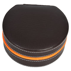 GLAM Round Zip Case - Organiser box for Travel Jewellery Vanity -brown orange with mirror - Nestasia Home Decor