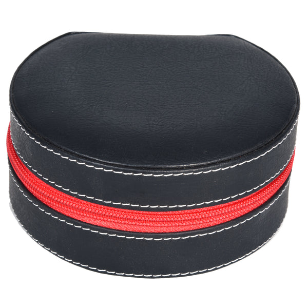 Round Zip Case - Organiser box for Travel Jewellery Vanity - black red combination with mirror - PU Leatherite