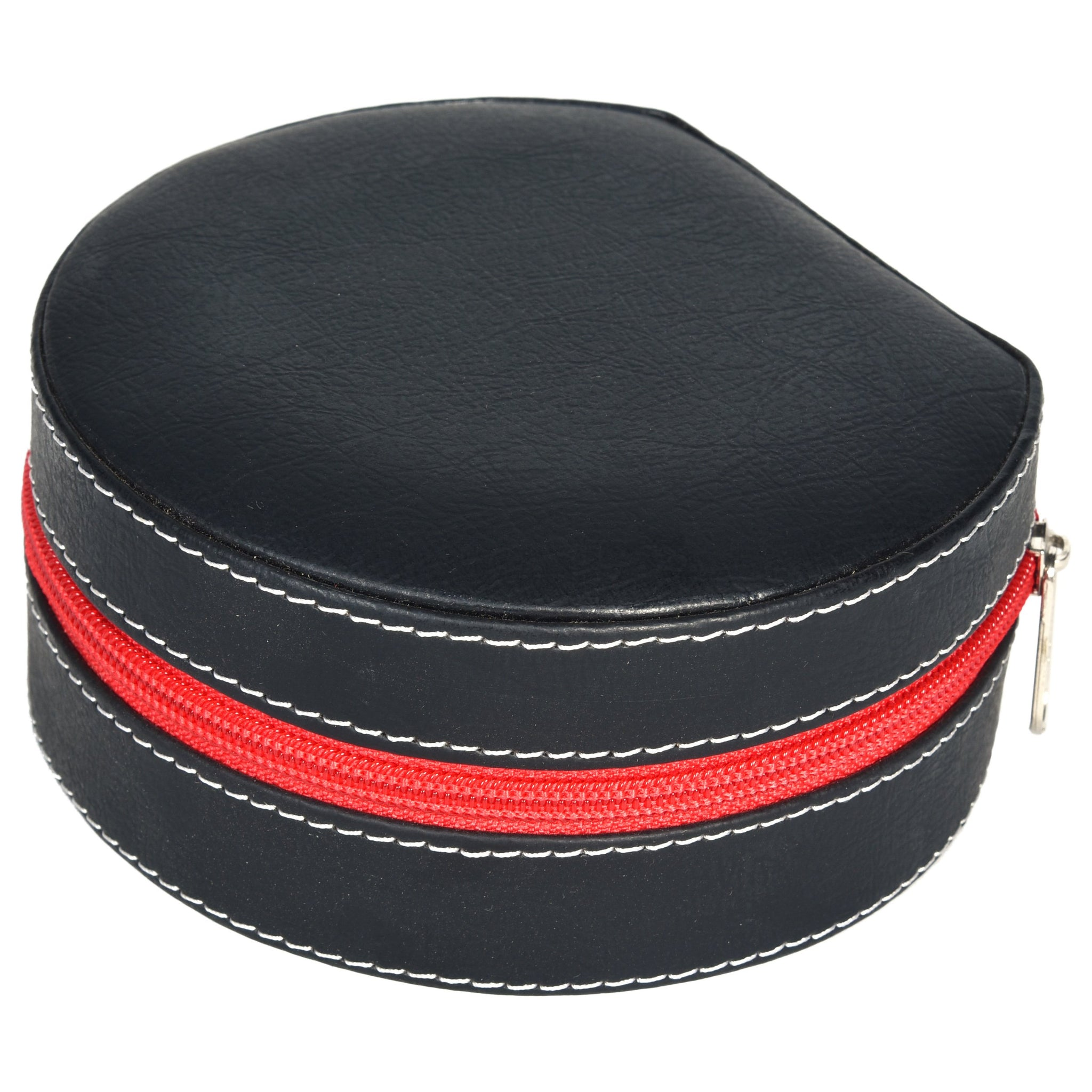 Nestasia Round Zip Case - Organiser box for Travel Jewellery Vanity - black red combination with mirror - PU Leatherite