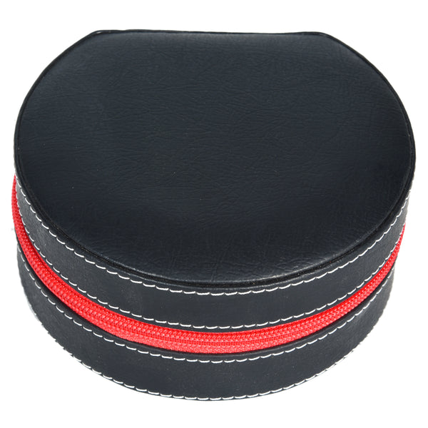 GLAM Round Zip Case - Organiser box for Travel Jewellery Vanity - black red with mirror - Nestasia Home Decor