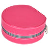GLAM Round Zip Case - Organiser Box for Travel Jewellery Vanity -grey pink with mirror - Nestasia Home Decor