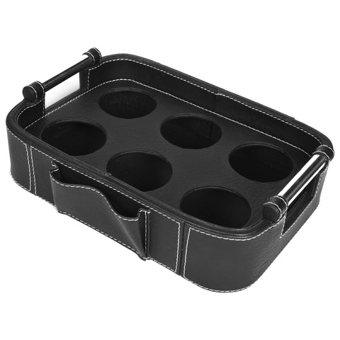 Nestasia Serving Tray with handle - Rectangle with round edges - Black PU Leatherite - for gifts home office