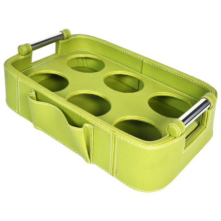 Nestasia Serving Tray with handle - Rectangle with round edges - Green PU Leatherite - for gifts home office