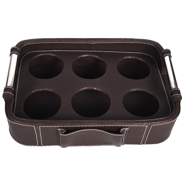 Serving Tray with handle - Rectangle with round edges - Dark Brown PU Leatherite - for gifts home office