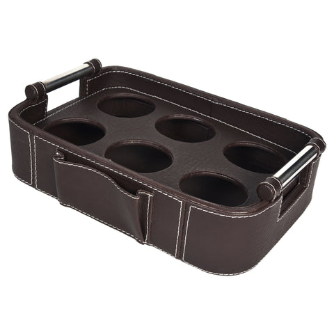 Nestasia Serving Tray with handle - Rectangle with round edges - Dark Brown PU Leatherite - for gifts home office