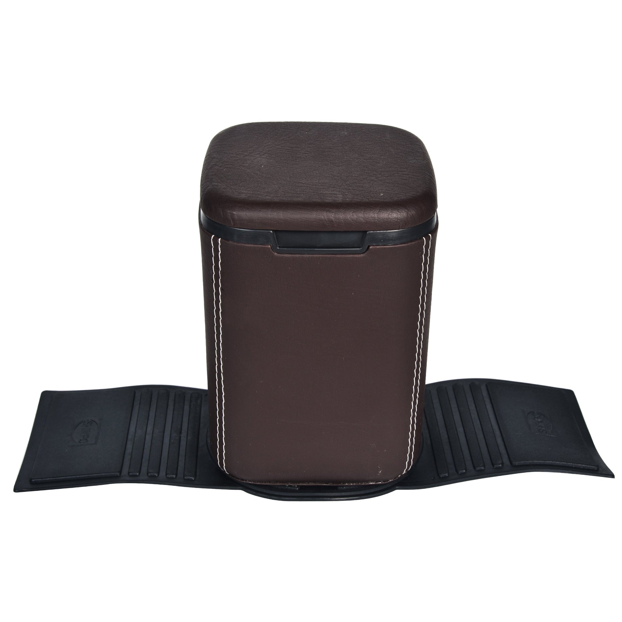 Nestasia Mini Car Dustbin with lid - brown PU Leatherite - waste paper storage box - rubber base for stability