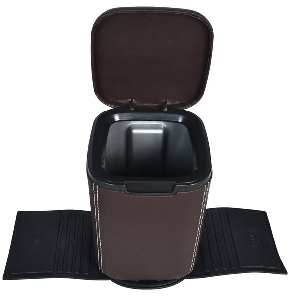 Mini Car Dustbin with lid - brown PU Leatherite - waste paper storage box