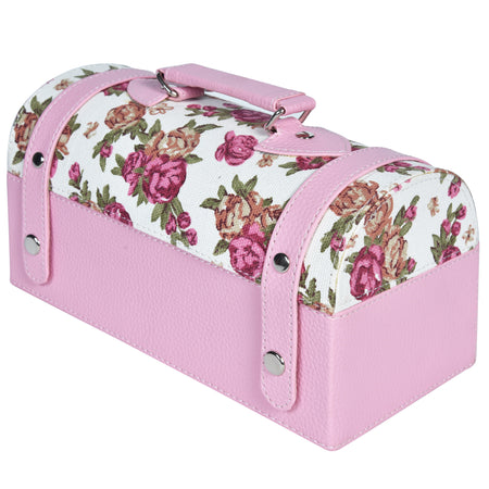 Nestasia Travel Jewellery Vanity Box - Trunk case - With mirror - Floral pattern - Light baby pink - PU Leatherite