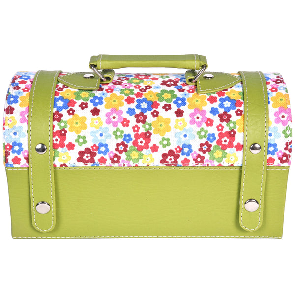 Nestasia Travel Jewellery Vanity Box - Trunk case - With mirror - Floral pattern - Green White - PU Leatherite