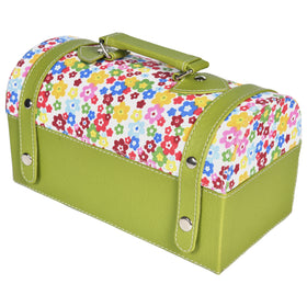 GLAM Travel Jewellery Vanity Box Trunk - Floral Green White Case
