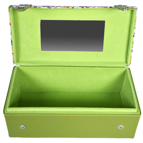GLAM Travel Jewellery Vanity Box Trunk - Floral Green White Case - Nestasia Home Decor