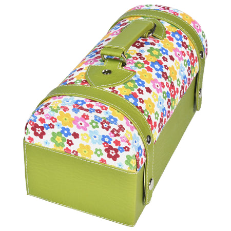 Travel Jewellery Vanity Box - Trunk case - With Mirror - Floral Pattern - Green White - PU Leatherite