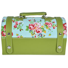 GLAM Travel Jewellery Vanity Box Trunk - Floral Green Blue Case