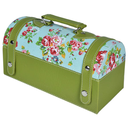 Nestasia Travel Jewellery Vanity Box - Trunk case - With mirror - Floral pattern - Green Blue - PU Leatherite