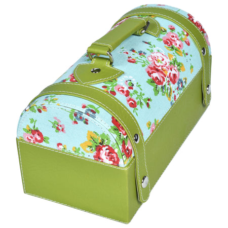Travel Jewellery Vanity Box - Trunk case - With Mirror - Floral pattern - Green Blue - PU Leatherite