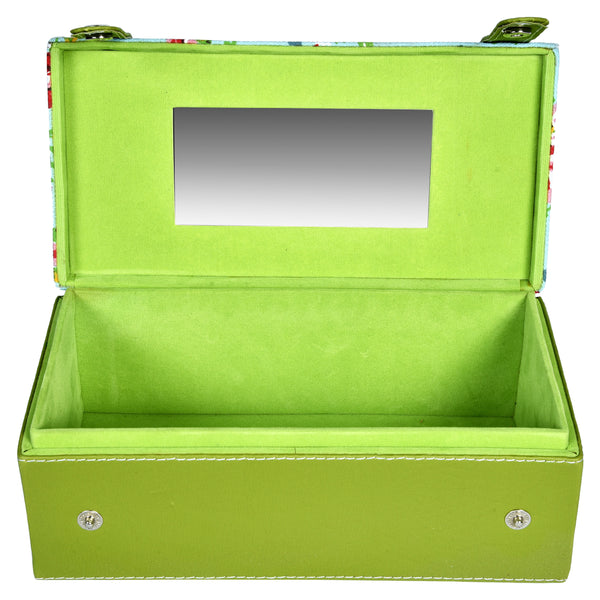 GLAM Travel Jewellery Vanity Box Trunk - Floral Green Blue Case - Nestasia Home Decor
