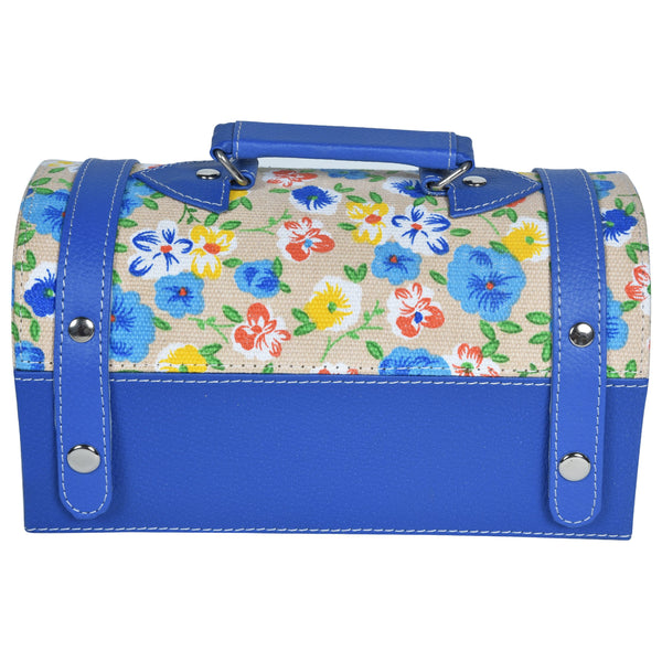 Nestasia Travel Jewellery Vanity Box - Trunk case - With mirror - Floral pattern - Blue White - PU Leatherite