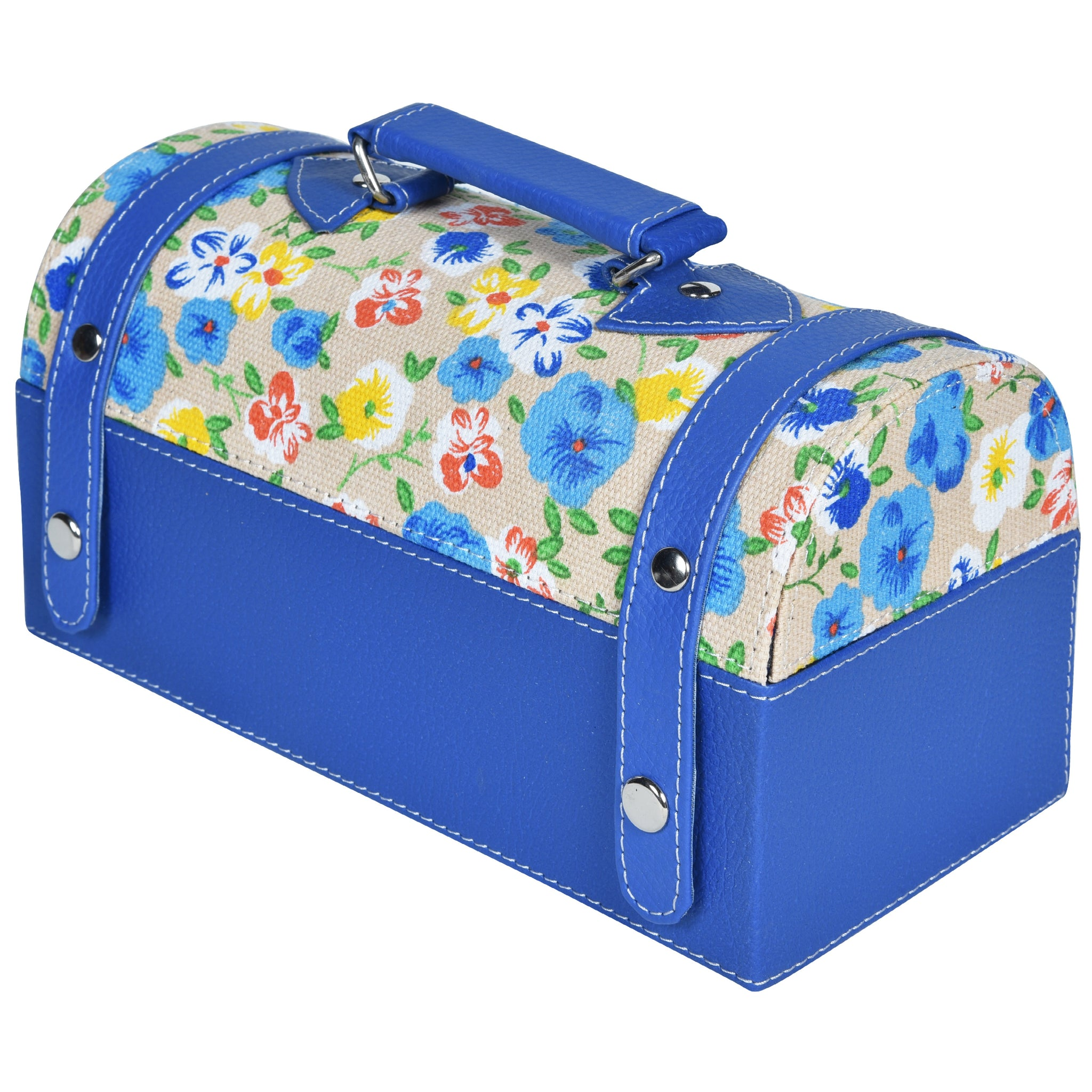 GLAM Travel Jewellery Vanity Box Trunk - Floral Blue White Case