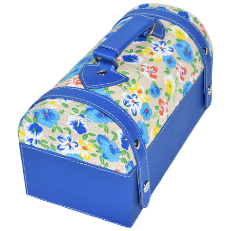 Travel Jewellery Vanity Box - Trunk case - With Mirror - Floral pattern - Blue White - PU Leatherite