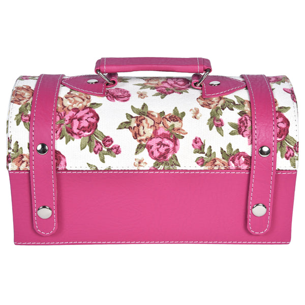 GLAM Travel Jewellery Vanity Box Trunk - Floral Pink Case - Nestasia Home Decor