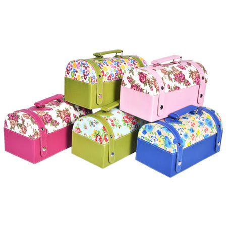 Travel Jewellery Vanity Box - Trunk Case - With Mirror - Floral Pattern - Pink Magenta - PU Leatherite