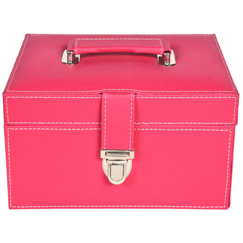 Nestasia Organiser storage box for Travel Jewellery Vanity - grey magenta pink combination with mirror - Rectangle - PU Leatherite