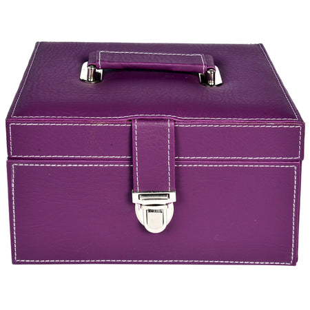 Nestasia Organiser storage box for Travel Jewellery Vanity - purple magenta pink combination with mirror - Rectangle - PU Leatherite