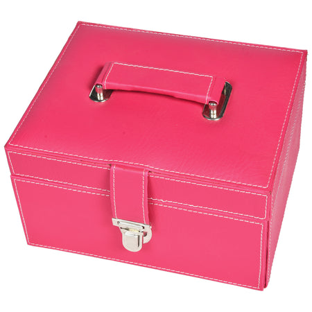 Organiser storage box for Travel Jewellery Vanity - grey magenta pink combination with mirror - Rectangle - PU Leatherite