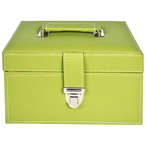 GLAM Organiser storage box for Travel Jewellery Vanity - green yellow kit