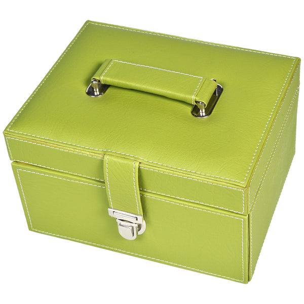 GLAM Organiser storage box for Travel Jewellery Vanity - green yellow kit - Nestasia Home Decor