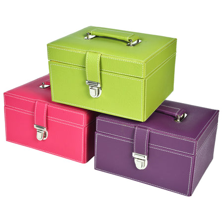 Organiser storage box for Travel Jewellery Vanity - green yellow combination with mirror - Rectangle - PU Leatherite