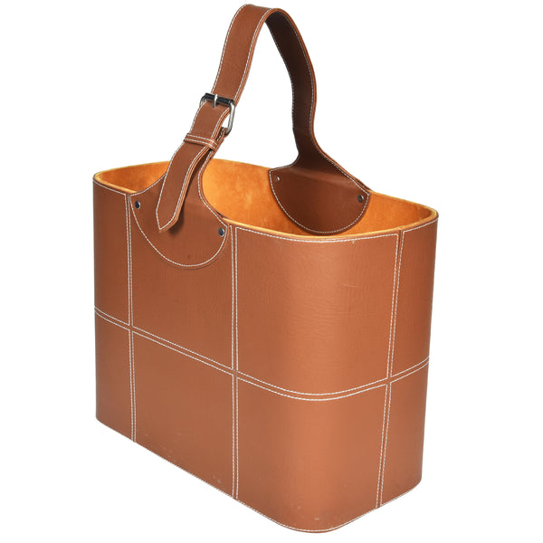 Magazine Basket Gadget Organiser - Brown Tan - PU Leatherite - Nestasia Home Decor