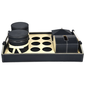 MARSHAL Tray Jars & Tissue Box Set - Black Off White