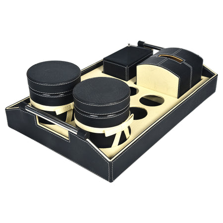 Tray with set of 2 Jars, Tissue Box and Stationery / Snack Box - Rectangle Tray with Handle - Black Cream Off White Combination - For Gifts Home Office - Two PU Leatherite Covered Glass Canister with Bow