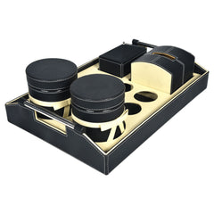 MARSHAL Tray Jars & Tissue Box Set - Black Off White - Nestasia Home Decor