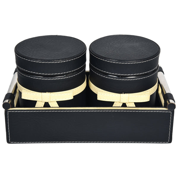 Nestasia Jar & Tray set of Two- 2 PU Leatherite covered glass canister with bow - Rectangle tray with handle - Black Cream off white Combination - For Gifts Home Office